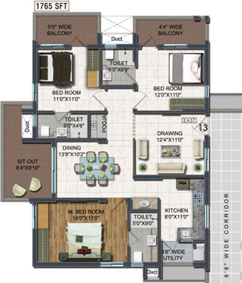 A2A Life Spaces floorplan 1765sqft east facing