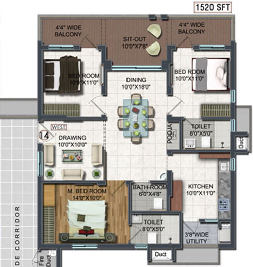 A2A Life Spaces floorplan 1520sqft west facing