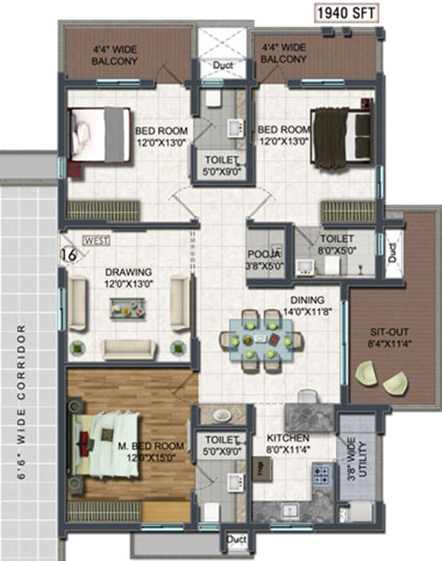 A2A Life Spaces floorplan 1940sqft west facing