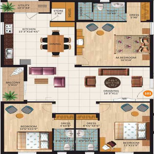Aashray Realty and Infra floorplan 2010sqft west facing