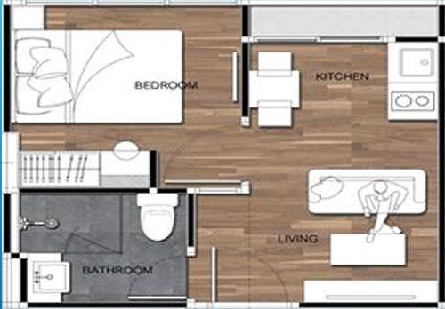 Amigo Grandeur Condominiums floorplan 365sqft east facing