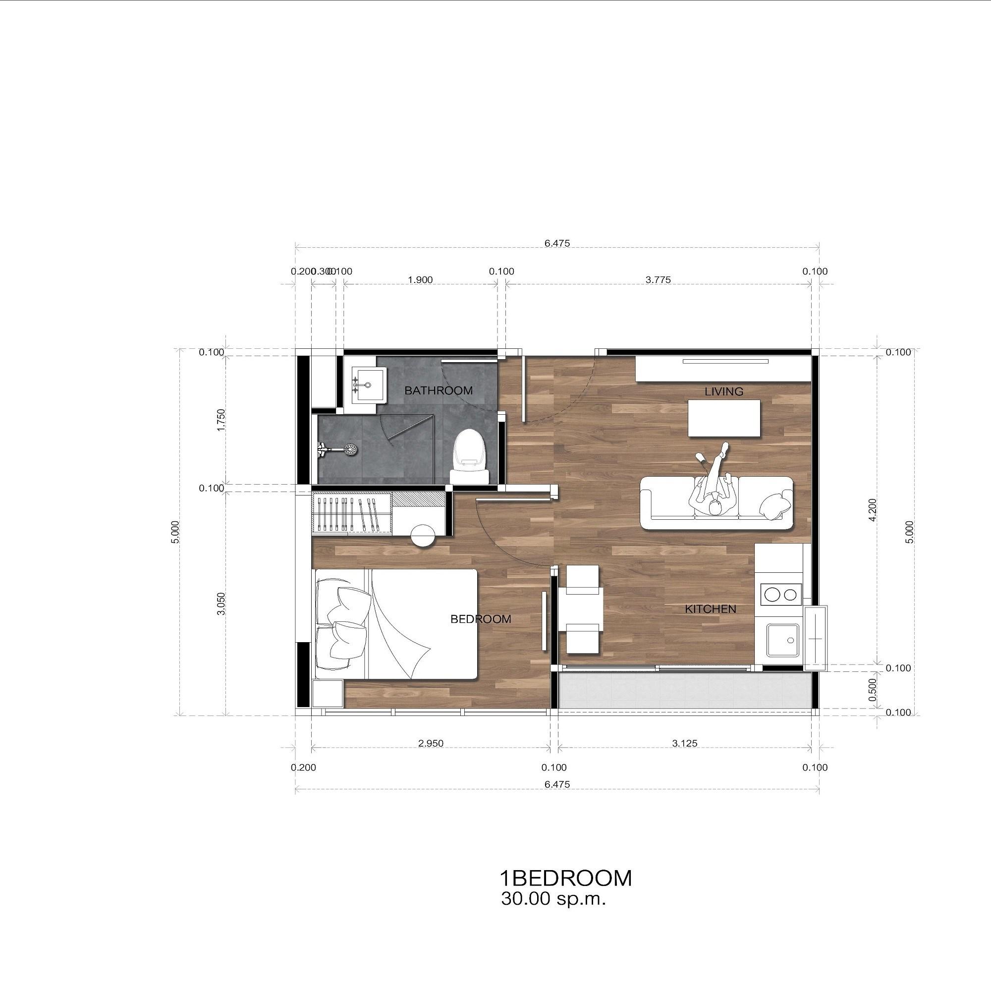 Amigo Grandeur Condominiums floorplan 440sqft east facing