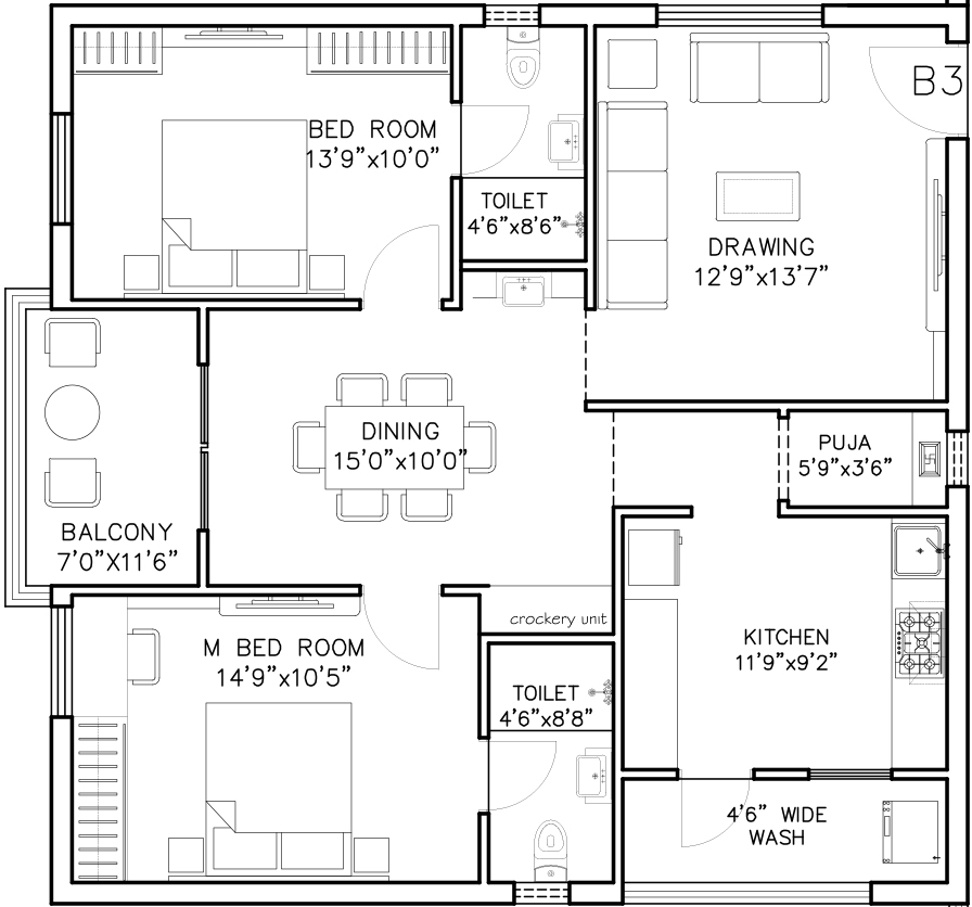 Amigo United Avenues floorplan 1363sqft east facing