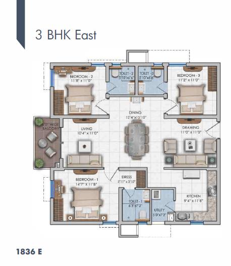 Ashoka Lakeside floorplan 1836sqft east facing