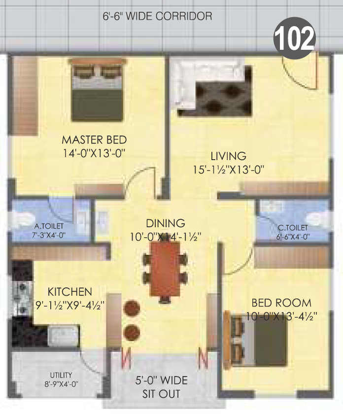 Balaji Classic floorplan 1250sqft west facing