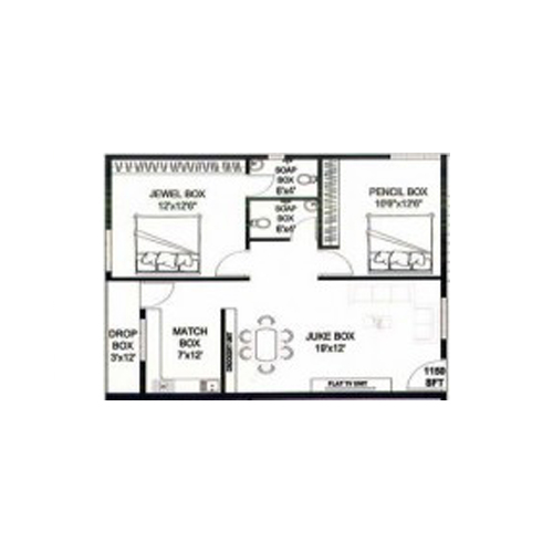 Bamboo den floorplan 1259sqft south facing