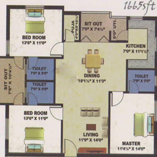 Bay Front floorplan 1665sqft south facing