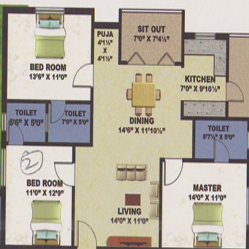 Bay Front floorplan 1550sqft south facing