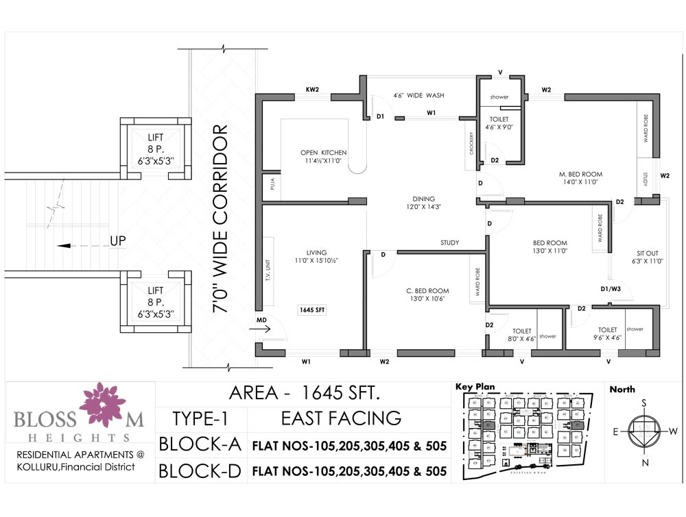 Blossom Heights floorplan 1645sqft east facing