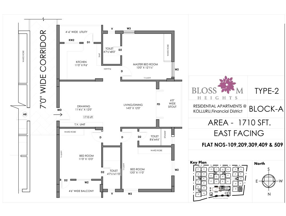 Blossom Heights floorplan 1710sqft east facing
