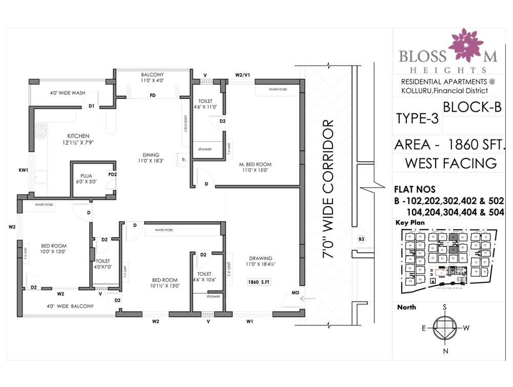 Blossom Heights floorplan 1860sqft west facing