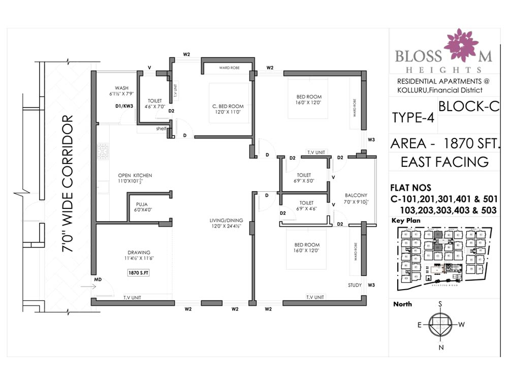 Blossom Heights floorplan 1870sqft east facing