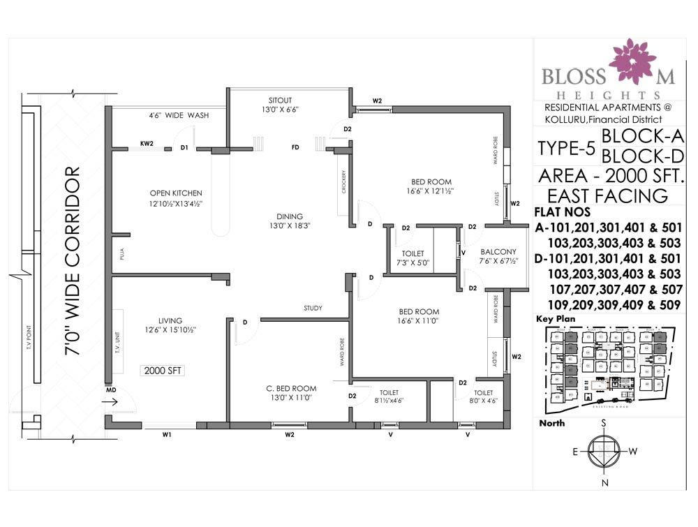 Blossom Heights floorplan 2000sqft east facing