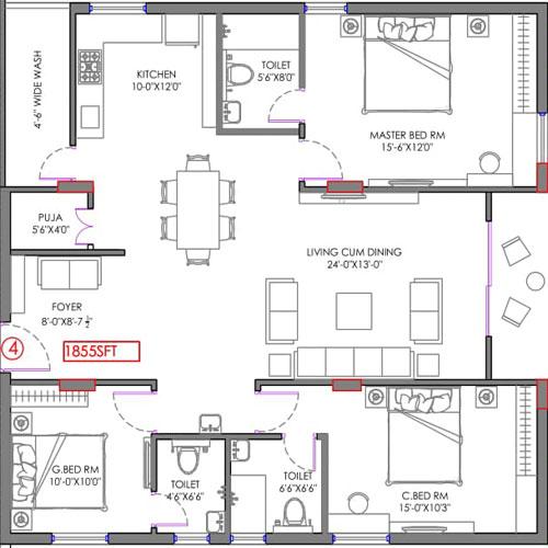 Crest B floorplan 1855sqft east facing