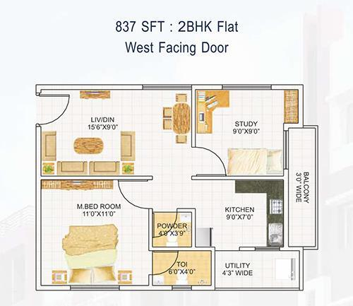 DEVI HOMES floorplan 837sqft west facing