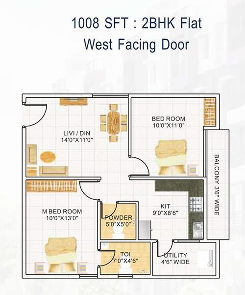 DEVI HOMES floorplan 1008sqft west facing