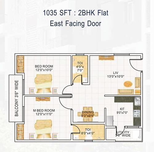 DEVI HOMES floorplan 1035sqft east facing