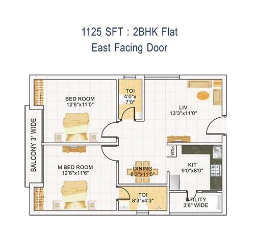 DEVI HOMES floorplan 1125sqft east facing