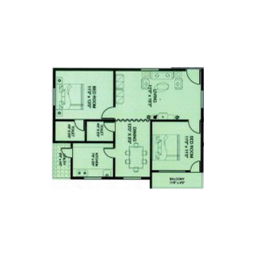 Elite towers floorplan 1100sqft west facing