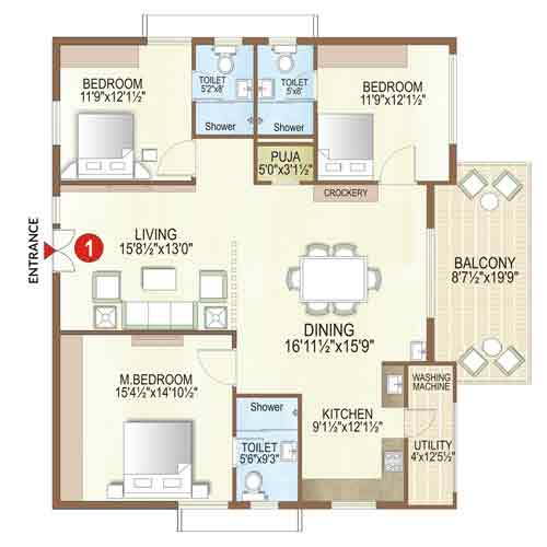 Elysian floorplan 1825 sqft east facing
