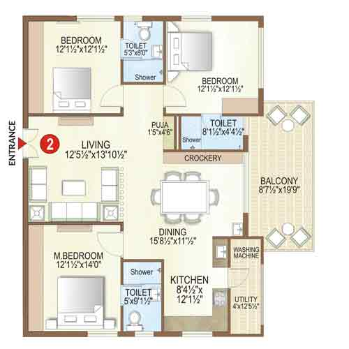 Elysian floorplan 2050 sqft west facing