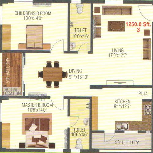 Empire Meadows floorplan 1250sqft east facing