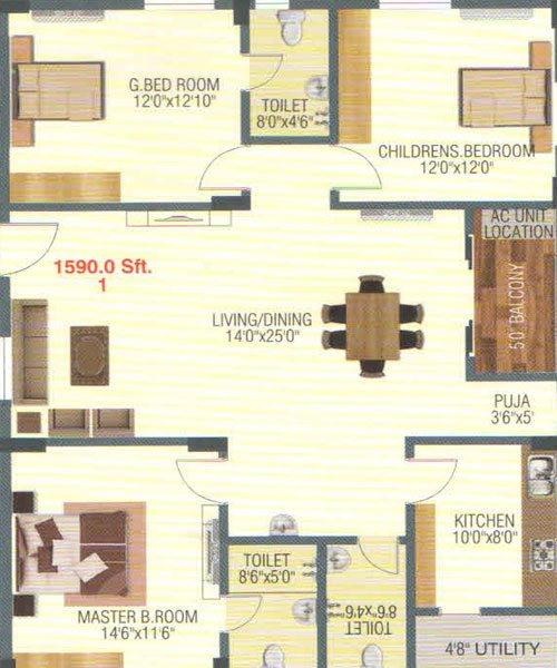 Empire Meadows floorplan 1590sqft west facing
