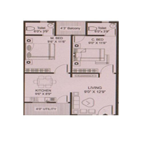 GSN Towers floorplan 975sqft south facing