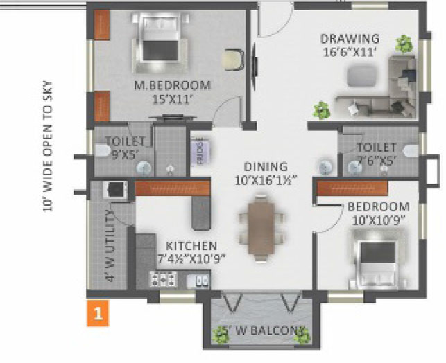 Galaxy Apartments floorplan 1275sqft west facing