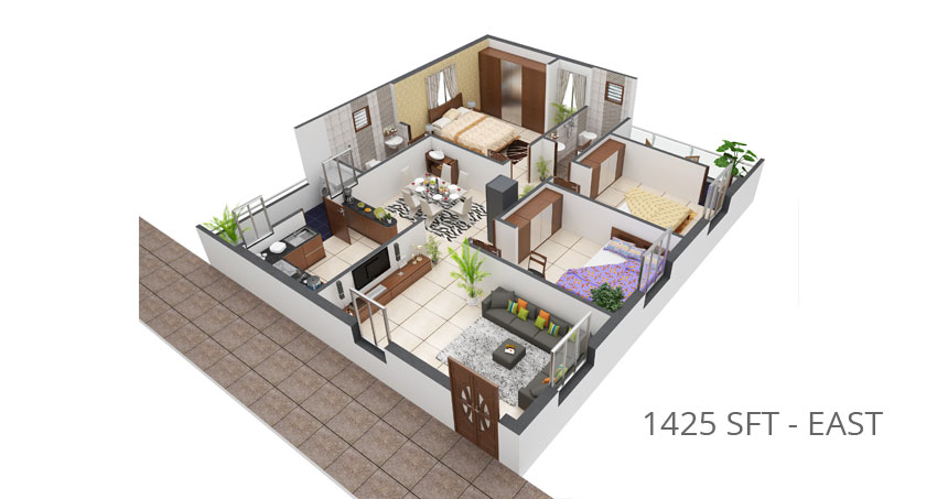 Girija Marvel floorplan 1425 sqft east facing