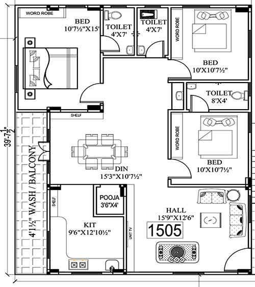 Golden Tulip floorplan 1505sqft east facing