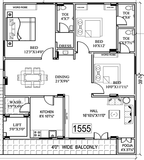 Golden Tulip floorplan 1555sqft north facing