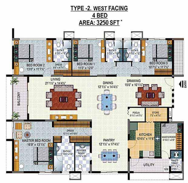 HILL COUNTY floorplan 3250sqft west facing