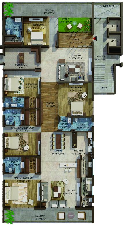 Halcyon floorplan 6757sqft east facing