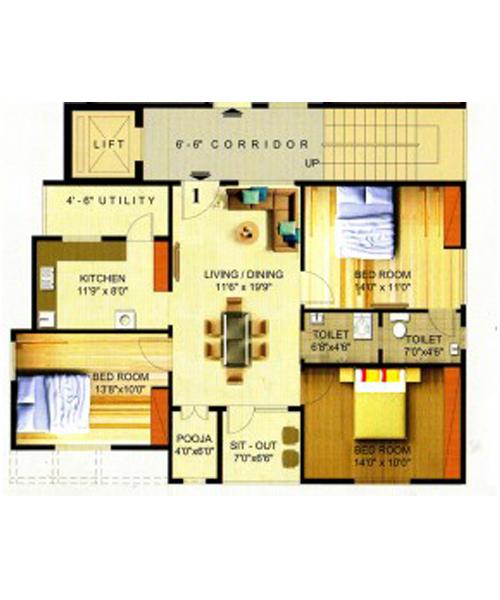 Heritage Eternity floorplan 1400sqft south facing