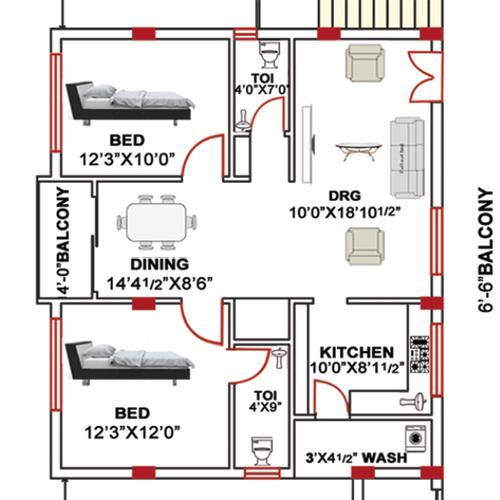 Hibiscus Residency floorplan 1150sqft east facing
