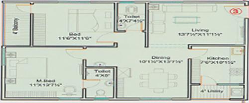 Hill View floorplan 1155sqft west facing