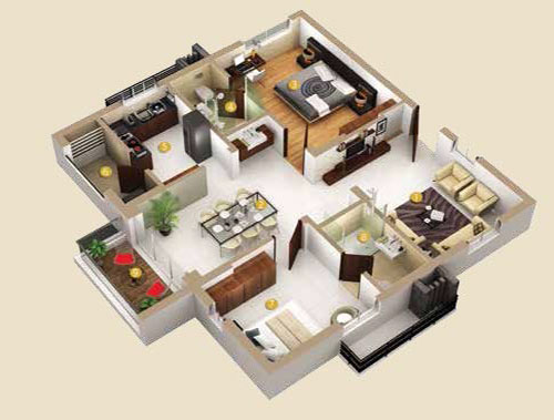 Honer Vivantis floorplan 1290sqft east facing