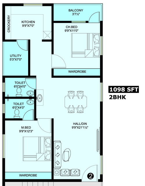 Honey Bee Residency floorplan 1098sqft south facing