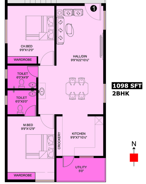 Honey Bee Residency floorplan 1098sqft north facing