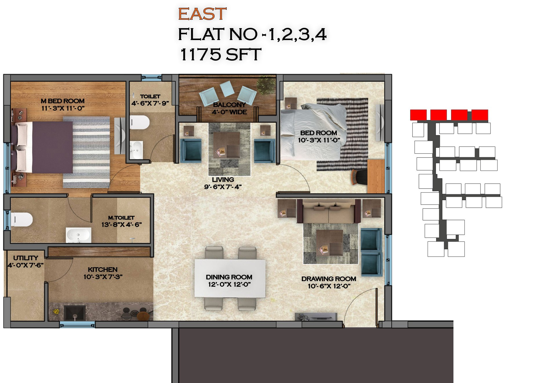 Honey Dew floorplan 1175sqft east facing