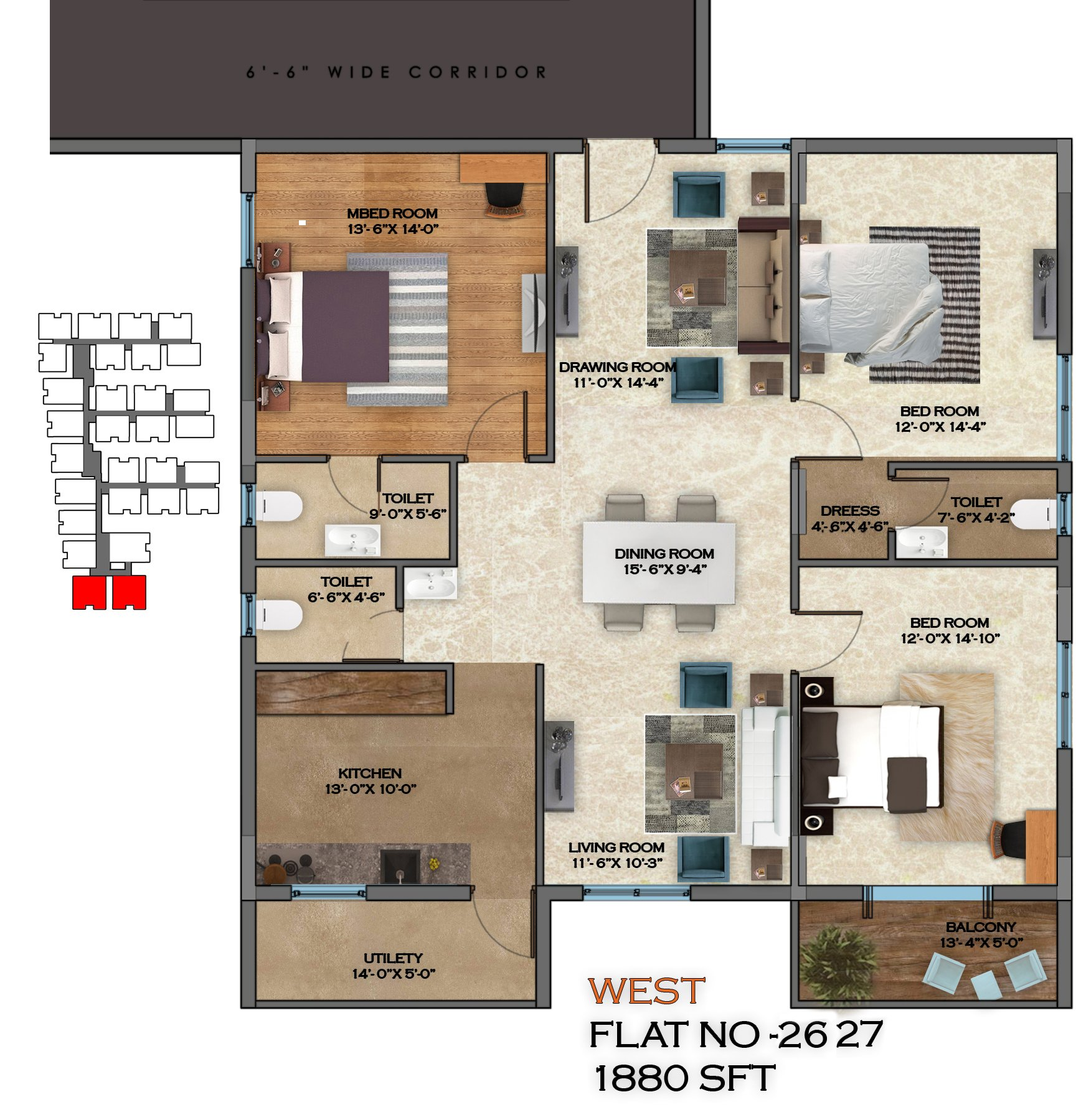 Honey Dew floorplan 1880sqft west facing