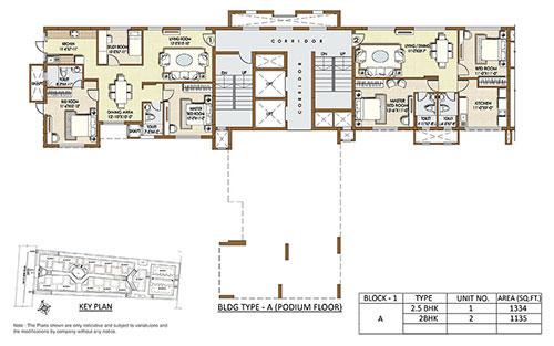 Indiabulls Sierra floorplan 1135-1334sqft west facing