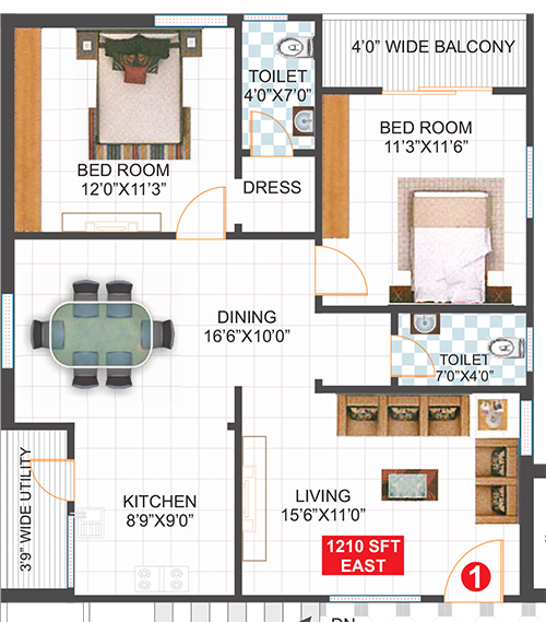Infocity Excellence & Elegance floorplan 1210sqft east facing