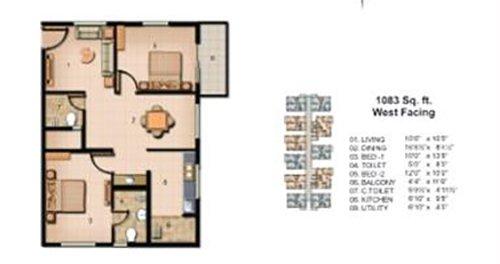 Jain Carlton Creek floorplan 1083sqft west facing