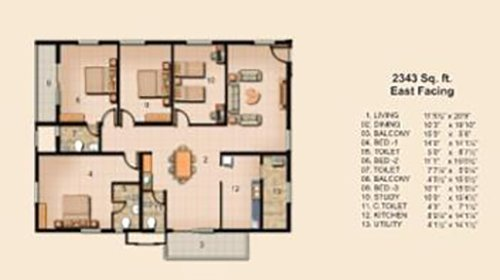 Jain Carlton Creek floorplan 2343sqft east facing