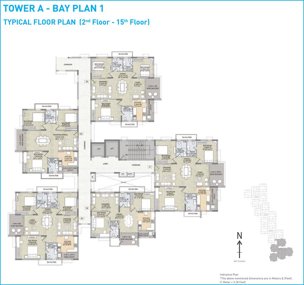 Kalpataru Residency floorplan 1265sqft north facing