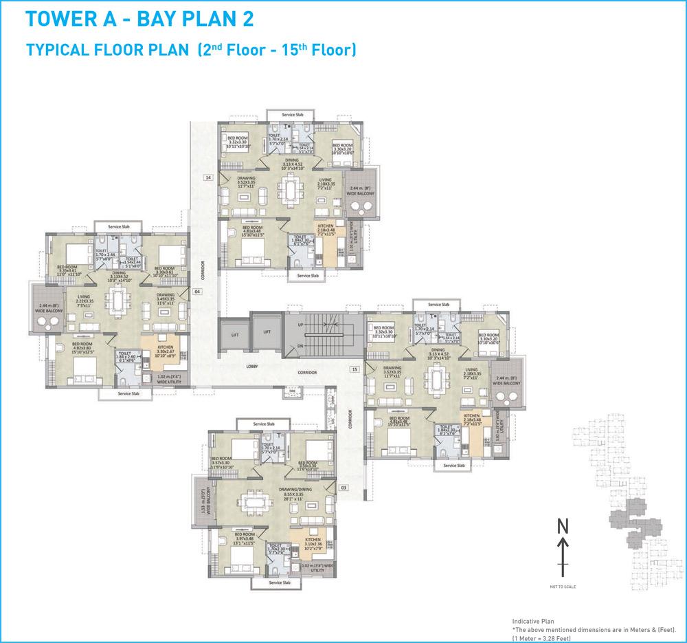 Kalpataru Residency floorplan 1685sqft west facing