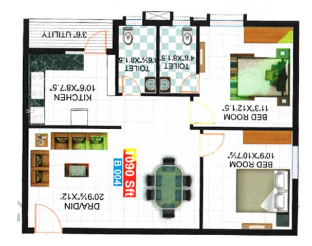 Kkr Sunshine floorplan 1840sqft east facing