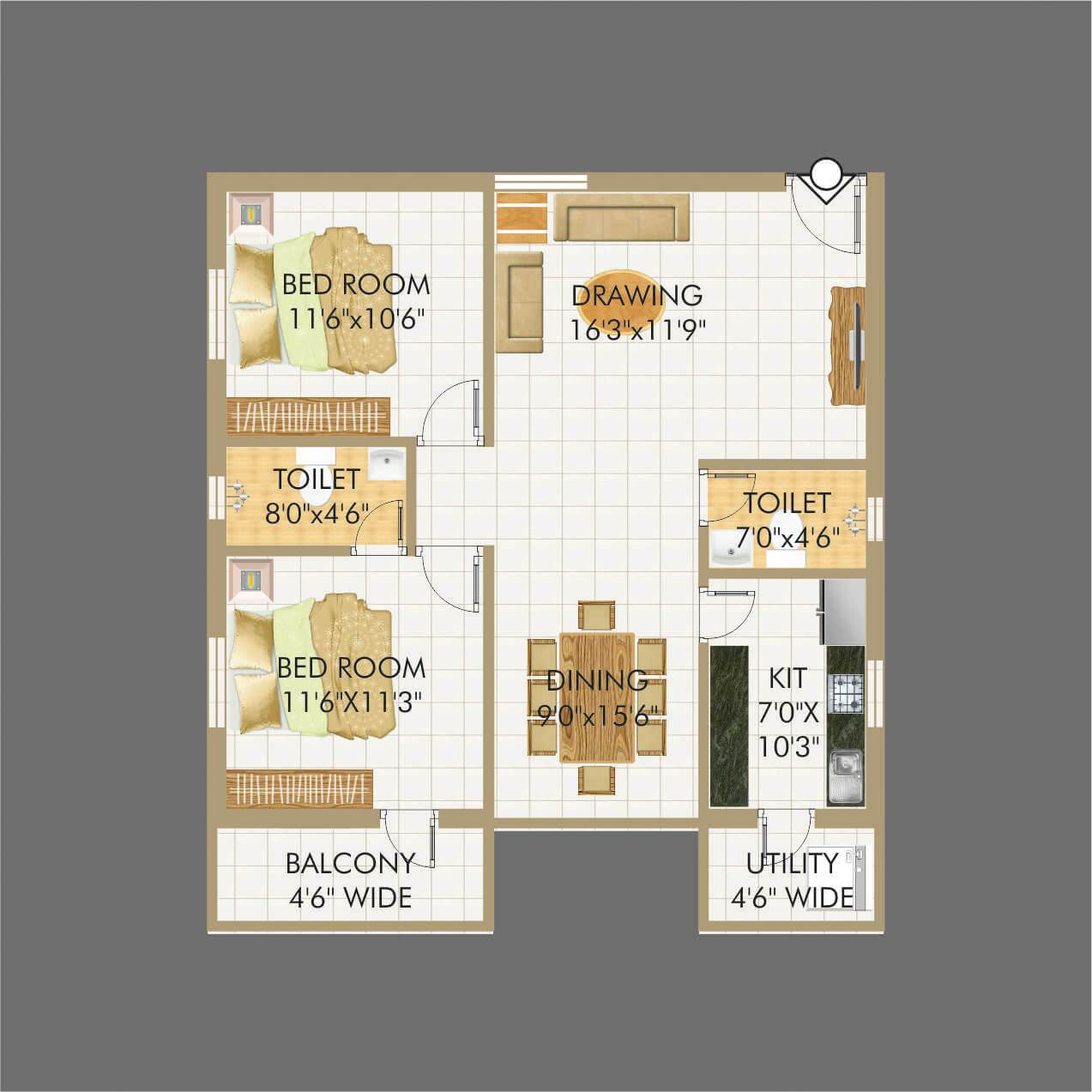 Lakecity floorplan 1233sqft north facing